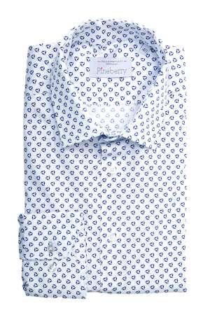 Camasa Barbati Alba cu Model Albastru