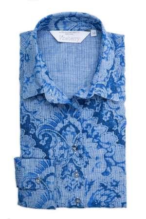 Camasa Dama Slim Fit cu Flori Albastre