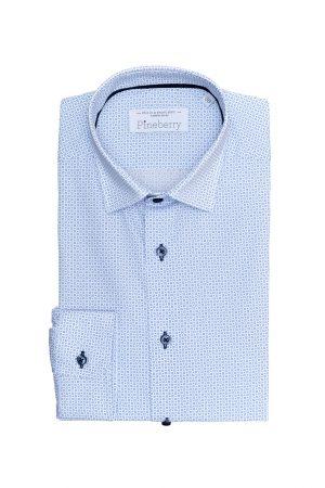Camasa Barbati Slim Fit Alba cu Print Bleu