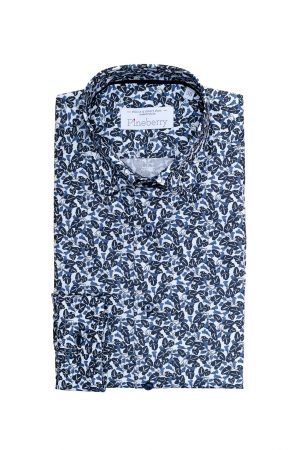 Camasa Barbati Slim Fit Frunze Navy