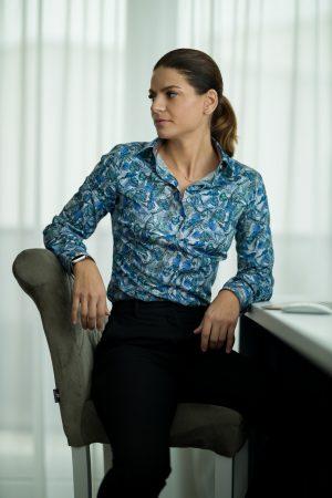 Camasa Dama Slim Fit Palmieri Bleu-Verzi