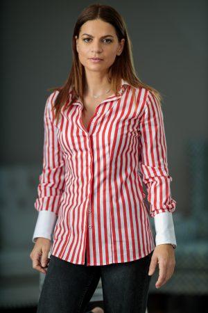 Camasa Dama Slim Fit Dungi Rosii