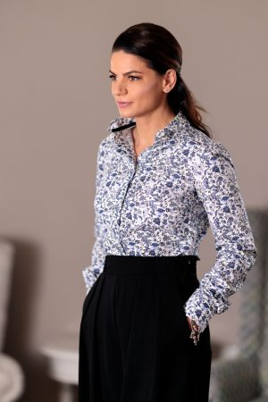 Camasa Dama Slim Fit Flori Navy