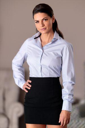 Camasa Dama Slim Fit Alba cu Romburi Bleu