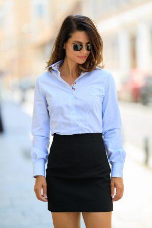 Camasa Dama Slim Fit Alba Dungi Bleu