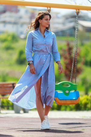 Rochie Lunga In Dungi Alb-Bleu