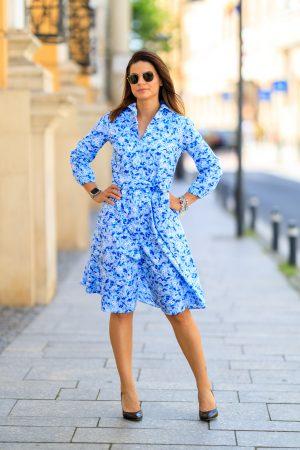 Rochie Scurta Flori Albastre Bleu