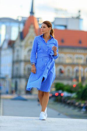 Rochie Scurta Dungi Albe-Bleu